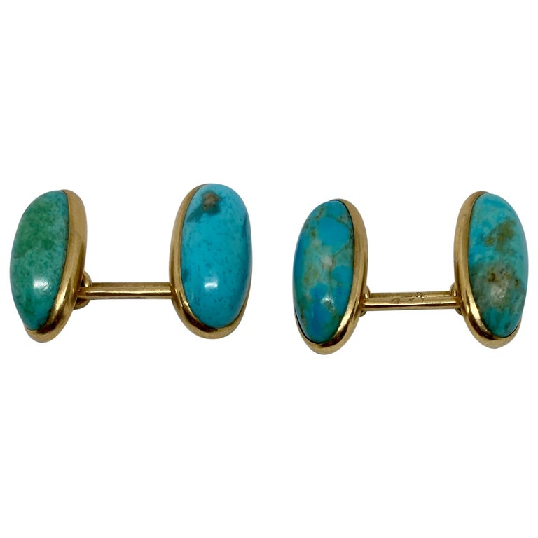 Art Deco Cufflinks with Turquoise Set in 14 Karat Rose Gold by Larter & Sons For Sale
