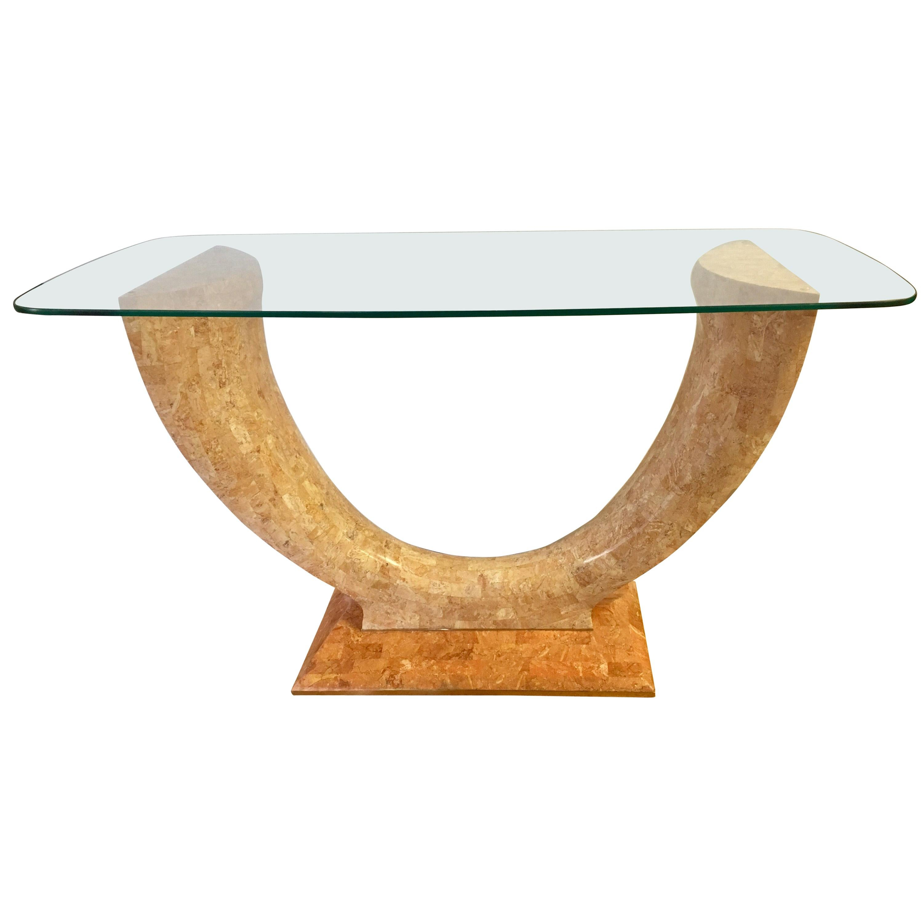 Art Deco Curved Marble Console Table Bar with Glass Top