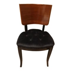 Art Deco Curved Rosewood Back Rest and Black Velvet Chairs, Set of 4