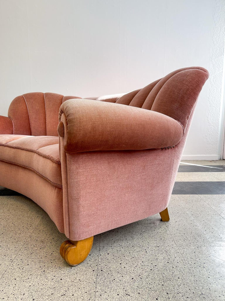 Art Deco Curved Sofa Sweden, 1930s For Sale 7