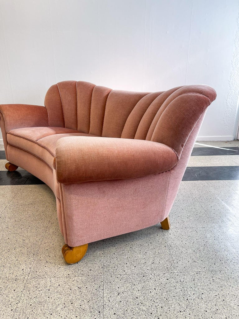 Art Deco Curved Sofa Sweden, 1930s For Sale 8