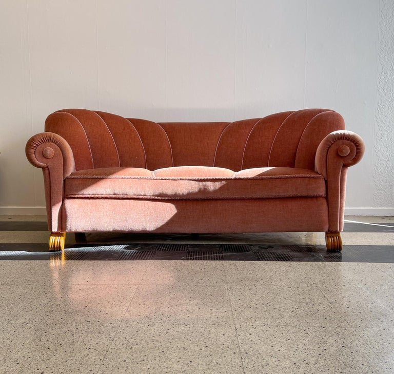 Mid-Century Modern Art Deco Curved Sofa Sweden, 1930s For Sale