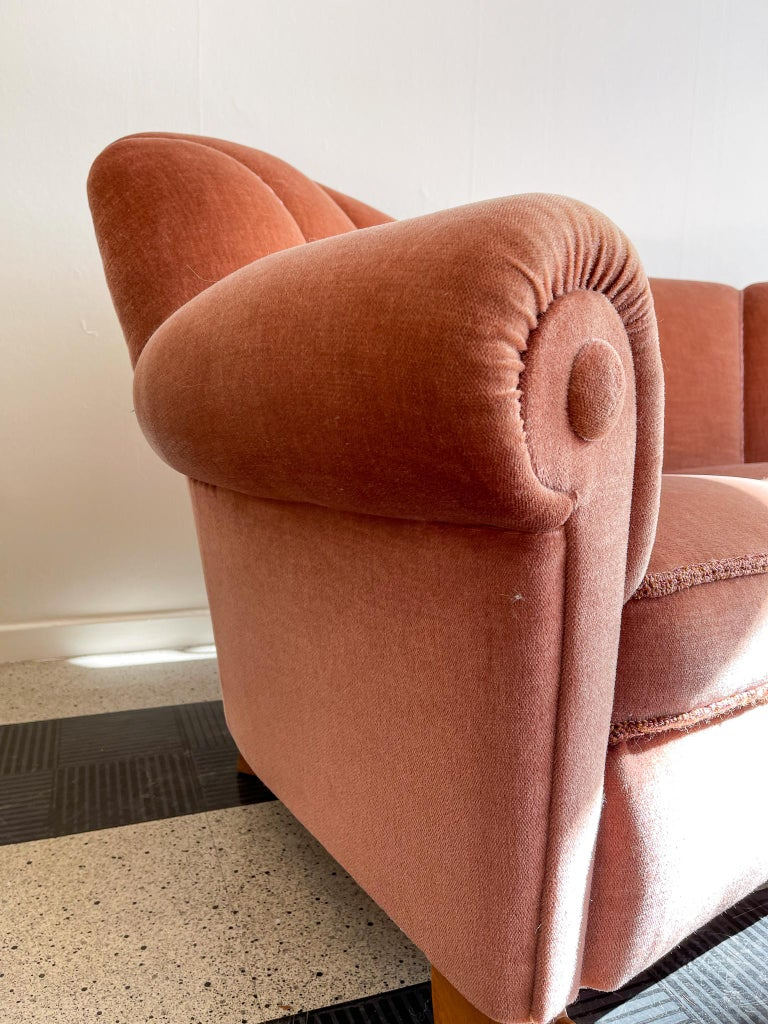Fabric Art Deco Curved Sofa Sweden, 1930s For Sale