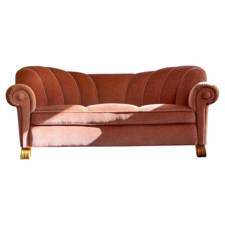 Art Deco Curved Sofa Sweden, 1930s For Sale