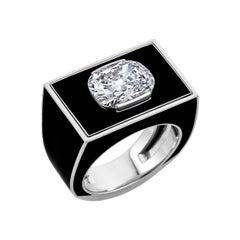 Cushion Brilliant Cut Diamond Black Lacquer Platinum Gold Ring