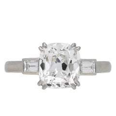 Art Deco Cushion Shape Old Mine Diamond Ring, circa 1930