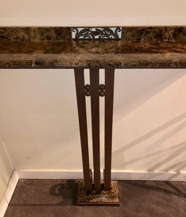 Argentine Art Deco Custom Iron and Marble Console Table For Sale