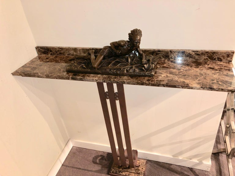 Art Deco Custom Iron and Marble Console Table For Sale 1