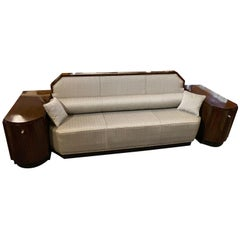 Art Deco Custom Sofa Daybed with Storage Cabinets Wood
