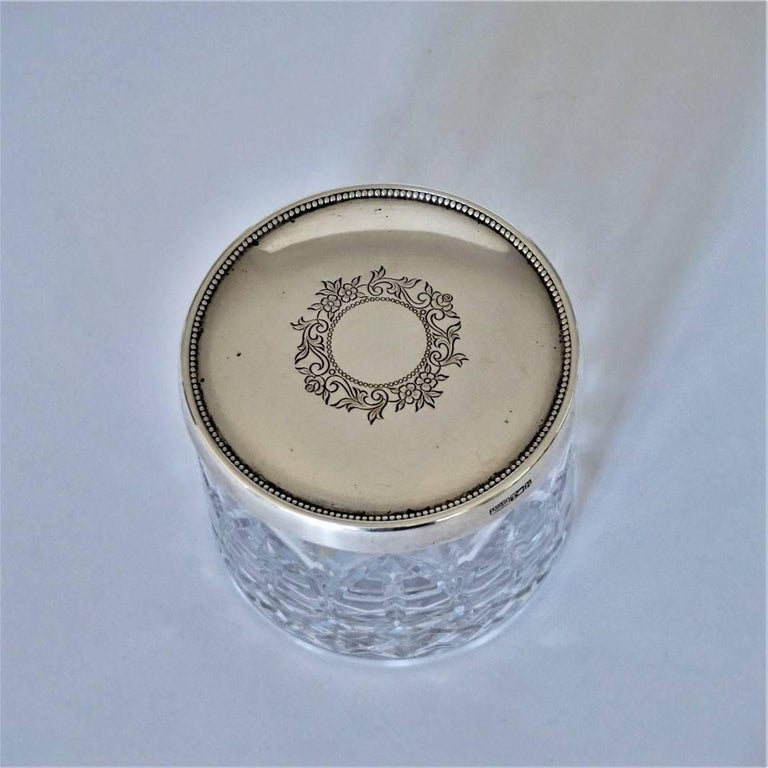 Portuguese Art Deco Cut Crystal Box with Sterling Silver Lid For Sale