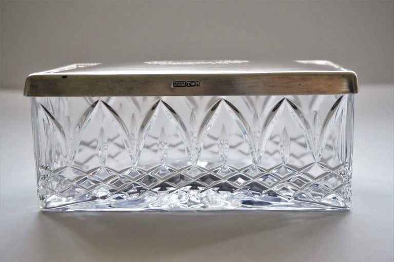 Plated Art Deco Cut Crystal Box with Sterling Silver Lid For Sale