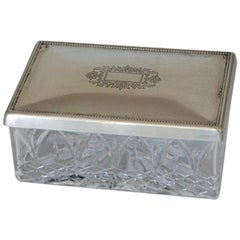 Art Deco Cut Crystal Box with Sterling Silver Lid
