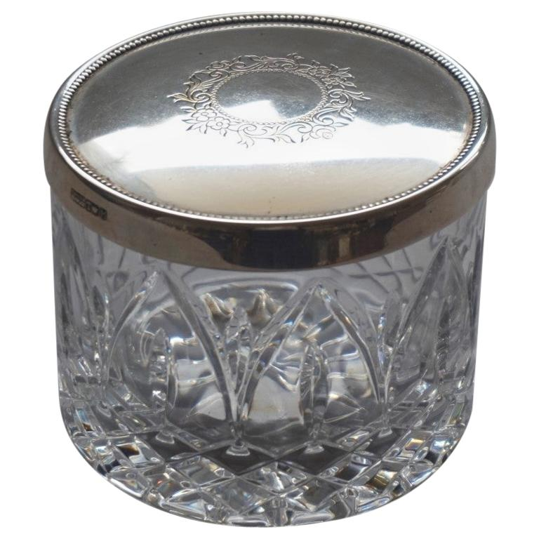 Art Deco Cut Crystal Box with Sterling Silver Lid For Sale
