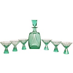 Art Deco Cut Crystal Liquor Set