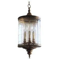 Art Deco Cut Glass and Brass Cylindrical Three-Light Lantern