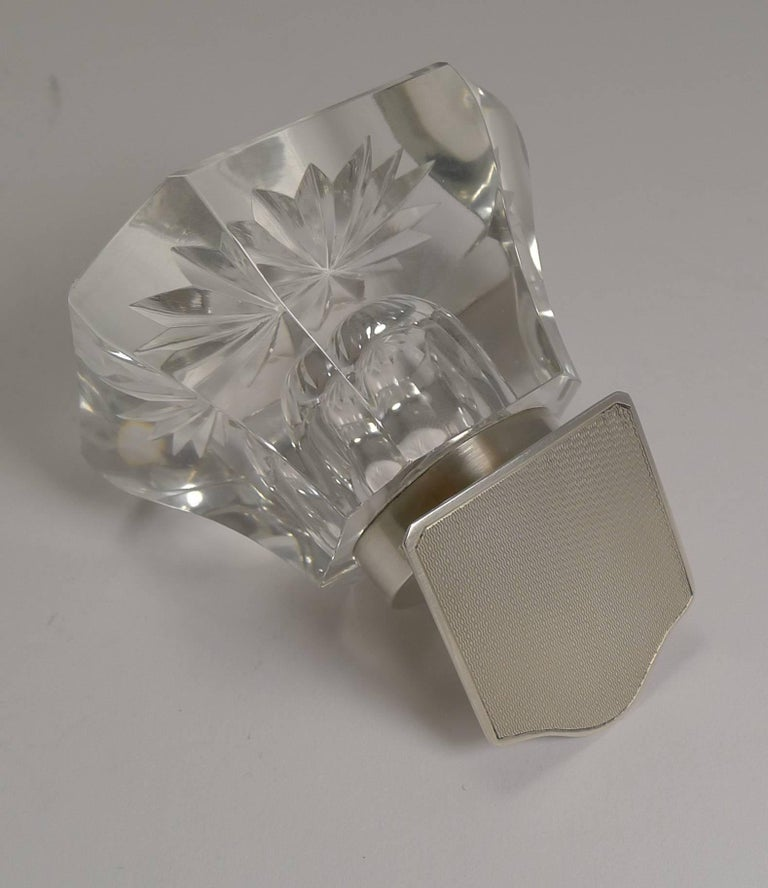 Art Deco Cut-Glass and English Sterling Silver Inkwell In Excellent Condition For Sale In London, GB
