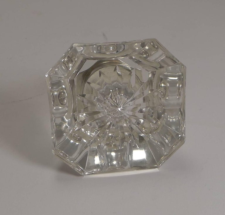 Early 20th Century Art Deco Cut-Glass and English Sterling Silver Inkwell For Sale