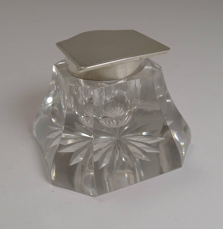 Art Deco Cut-Glass and English Sterling Silver Inkwell For Sale 2