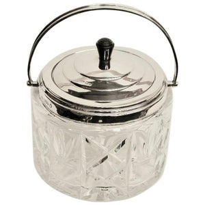 Art Deco Cut Glass and Silver Biscuit Barrel, Dated 1935, Assayed in Sheffield