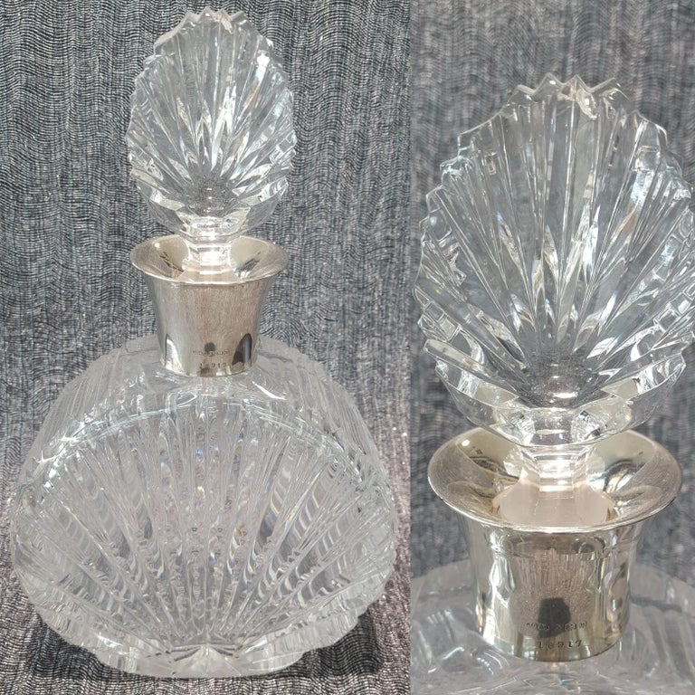 Art Deco Cut-Glass and Sterling Silver Mounted Decanter For Sale 4