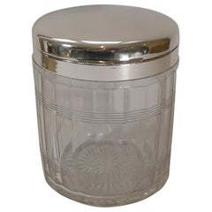Art Deco Cut Glass & Sterling Silver Biscuit Box / Ice Bucket, 1927
