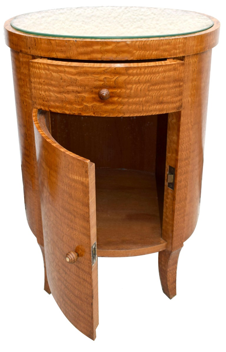 French Art Deco Cylindrical Chinese Burl Ash Cabinet, France, circa 1930 For Sale