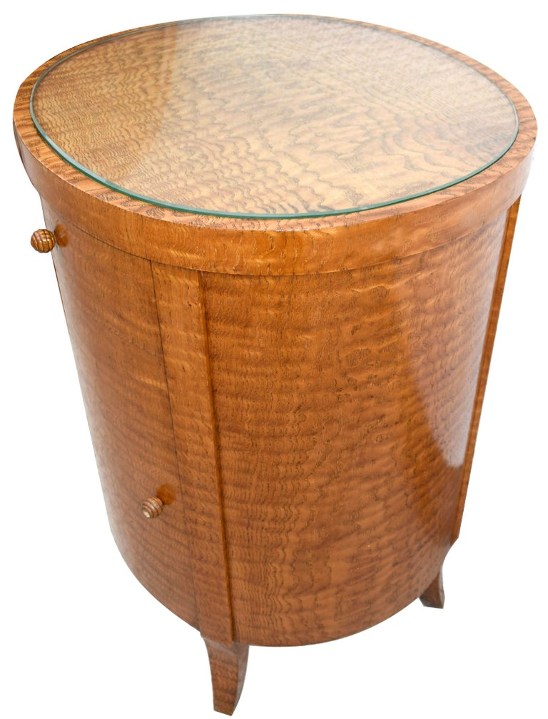 Art Deco Cylindrical Chinese Burl Ash Cabinet, France, circa 1930 In Good Condition For Sale In Devon, England