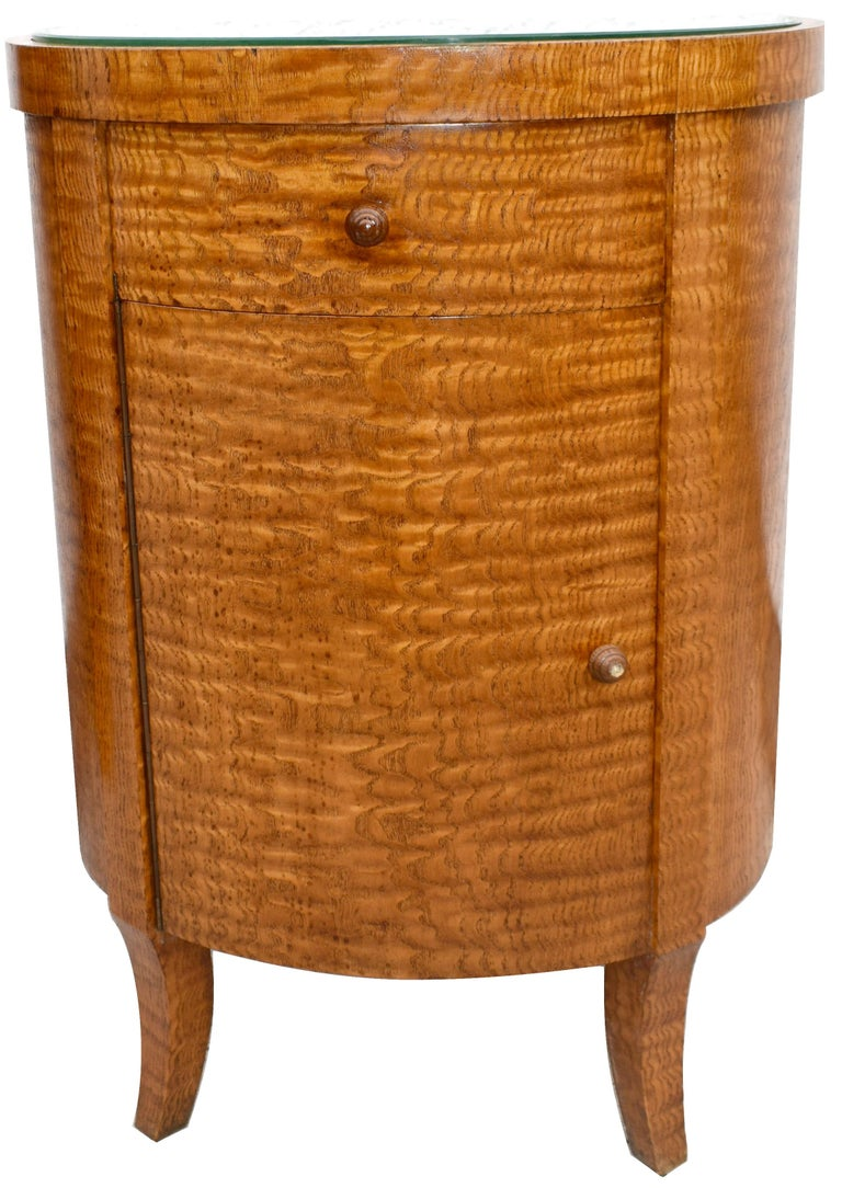 Glass Art Deco Cylindrical Chinese Burl Ash Cabinet, France, circa 1930 For Sale