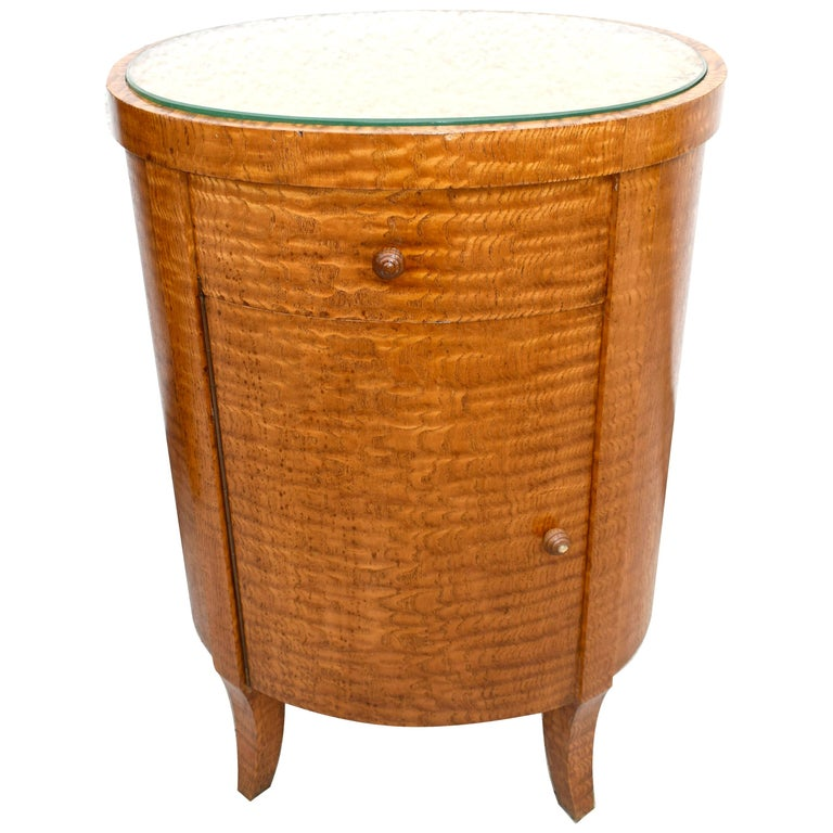 Art Deco Cylindrical Chinese Burl Ash Cabinet, France, circa 1930 For Sale