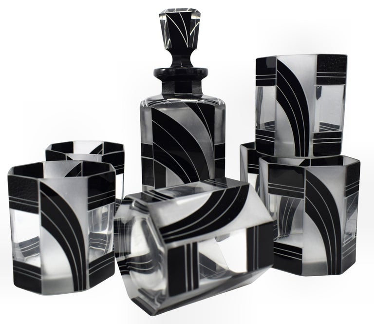 Art Deco Czech Black and Clear Glass Whisky Decanter Set For Sale 6