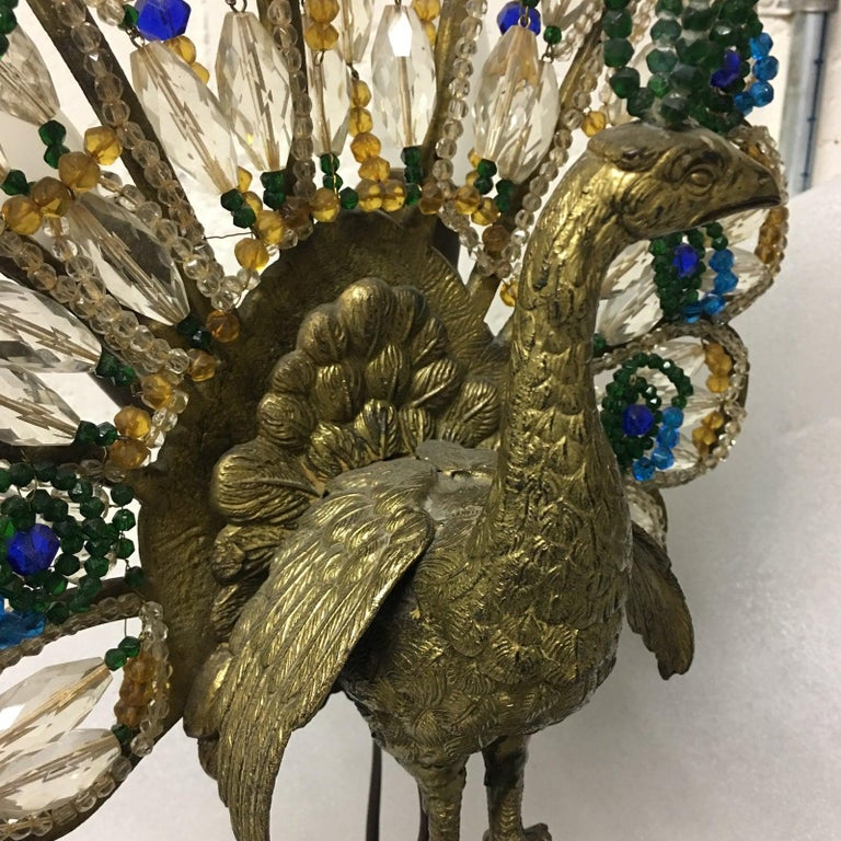 Early 20th Century Art Deco Czech Bronze and Crystal Beaded Peacock Table Lamp For Sale