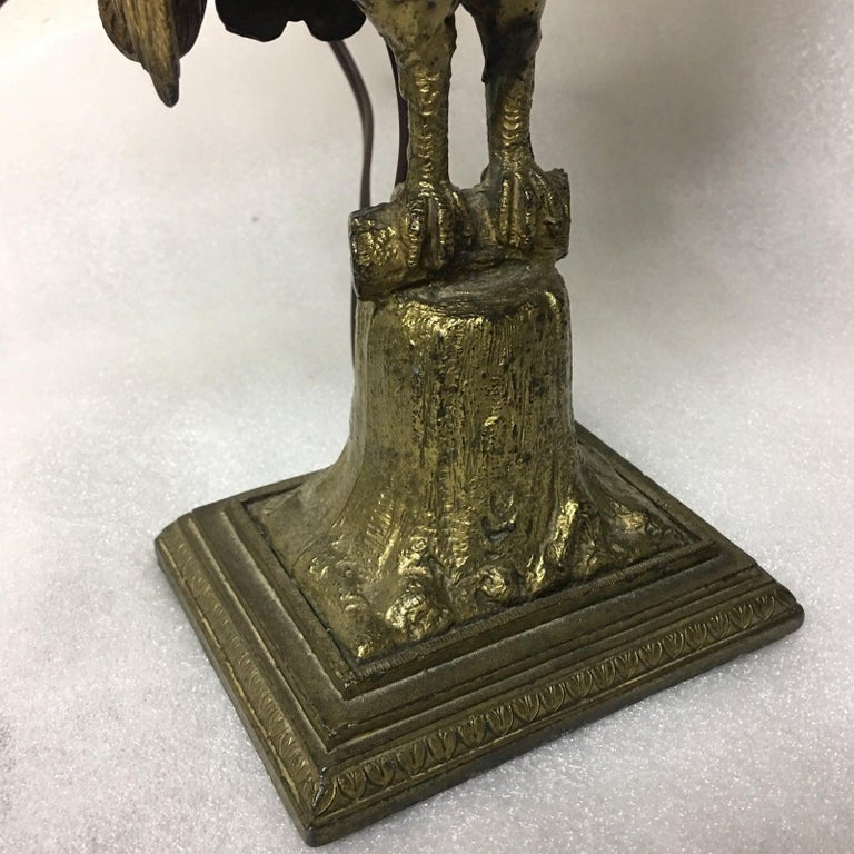 Art Deco Czech Bronze and Crystal Beaded Peacock Table Lamp For Sale 1