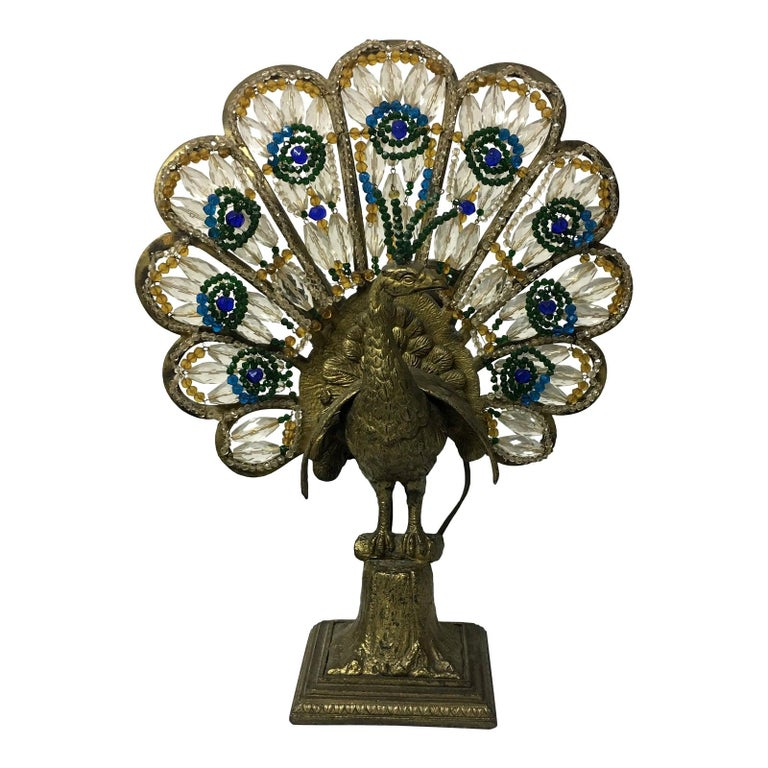 Art Deco Czech Bronze and Crystal Beaded Peacock Table Lamp For Sale