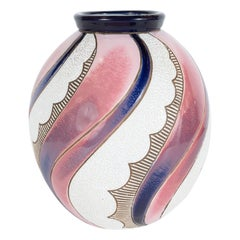 Art Deco Czech Ceramic Vase in Spiralling Hues of Rose Quartz and Sapphire