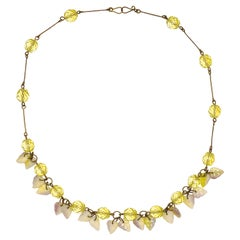 Art Deco Czech Citrine Glass Necklace with White, Citrine and Lilac Glass Leaves