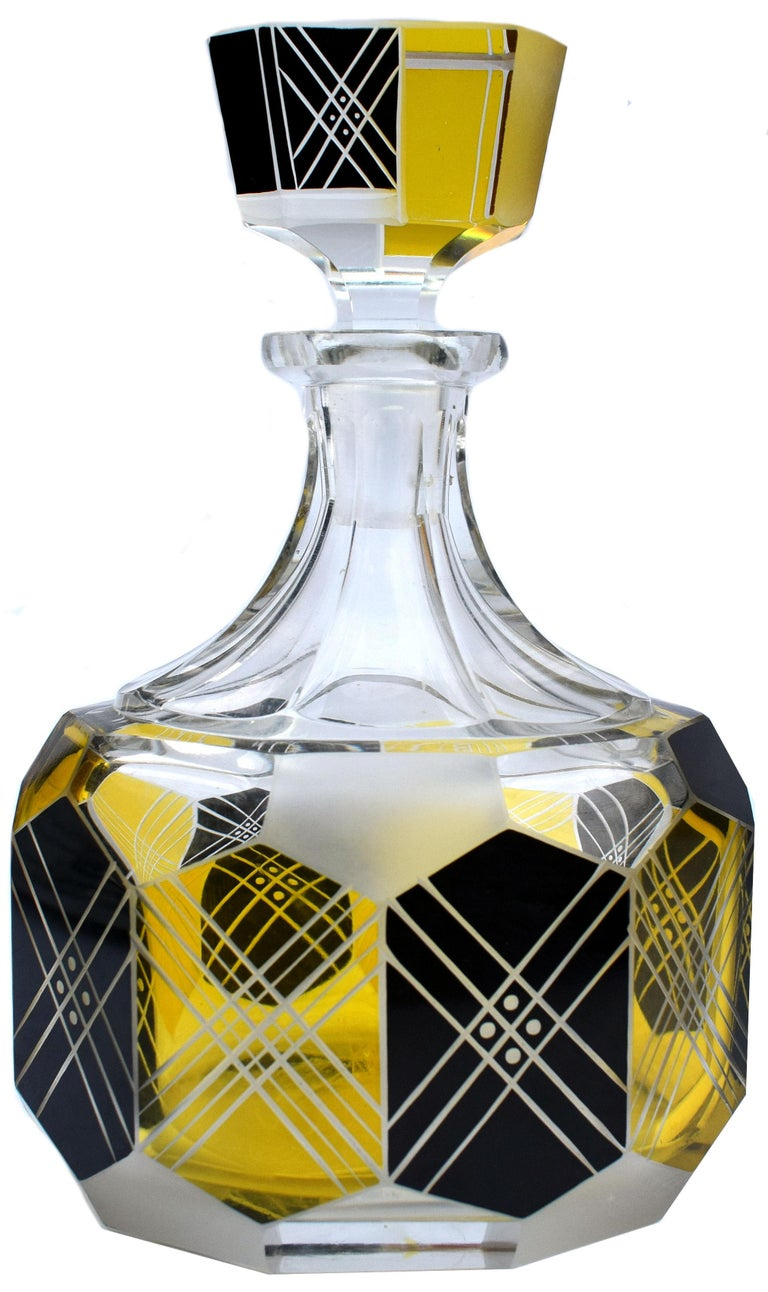 Art Deco Czech Crystal Glass Decanter Set, circa 1930 In Good Condition For Sale In Devon, England