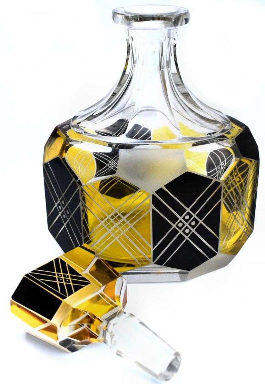 Art Deco Czech Crystal Glass Decanter Set, circa 1930 For Sale 1
