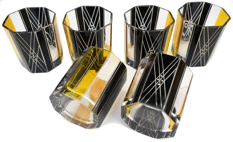 Art Deco Czech Crystal Glass Decanter Set, circa 1930 For Sale 2