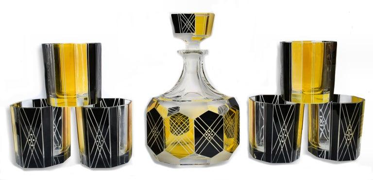 Art Deco Czech Crystal Glass Decanter Set, circa 1930 For Sale 3