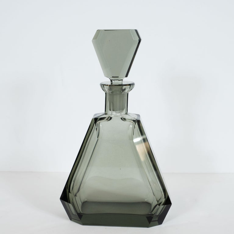 Mid-20th Century Art Deco Czech Cubist Decanter Set with Six-Shot Glass in Clear Graphite Glass For Sale