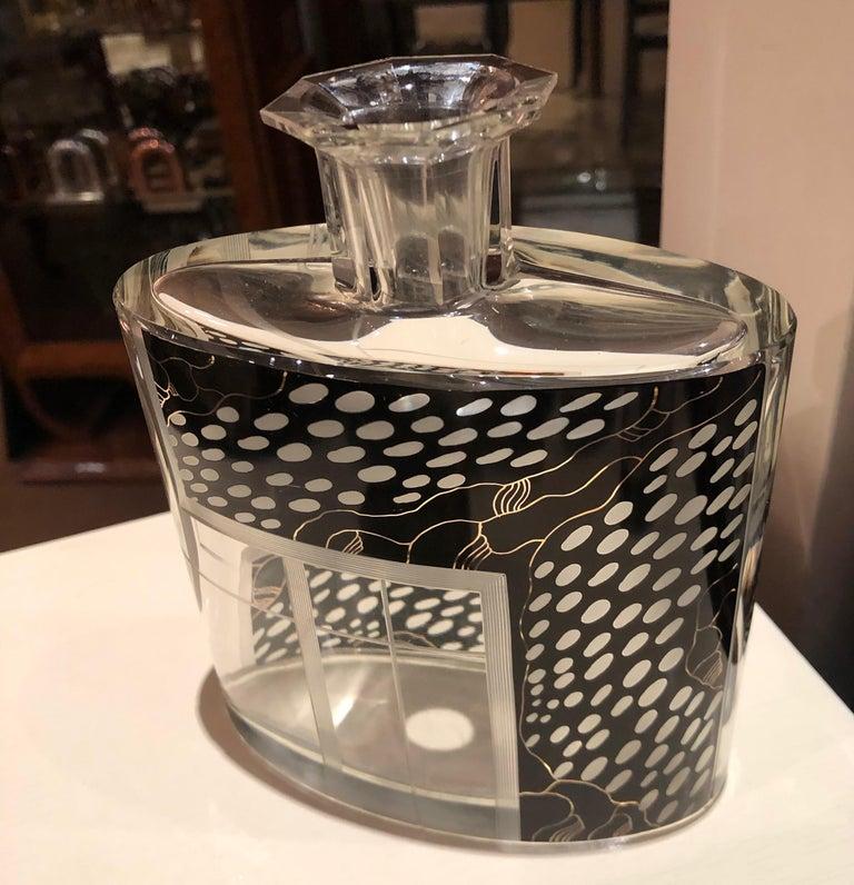 Art Deco Czech Decanter Glasses with Leopard Black Designs For Sale 6