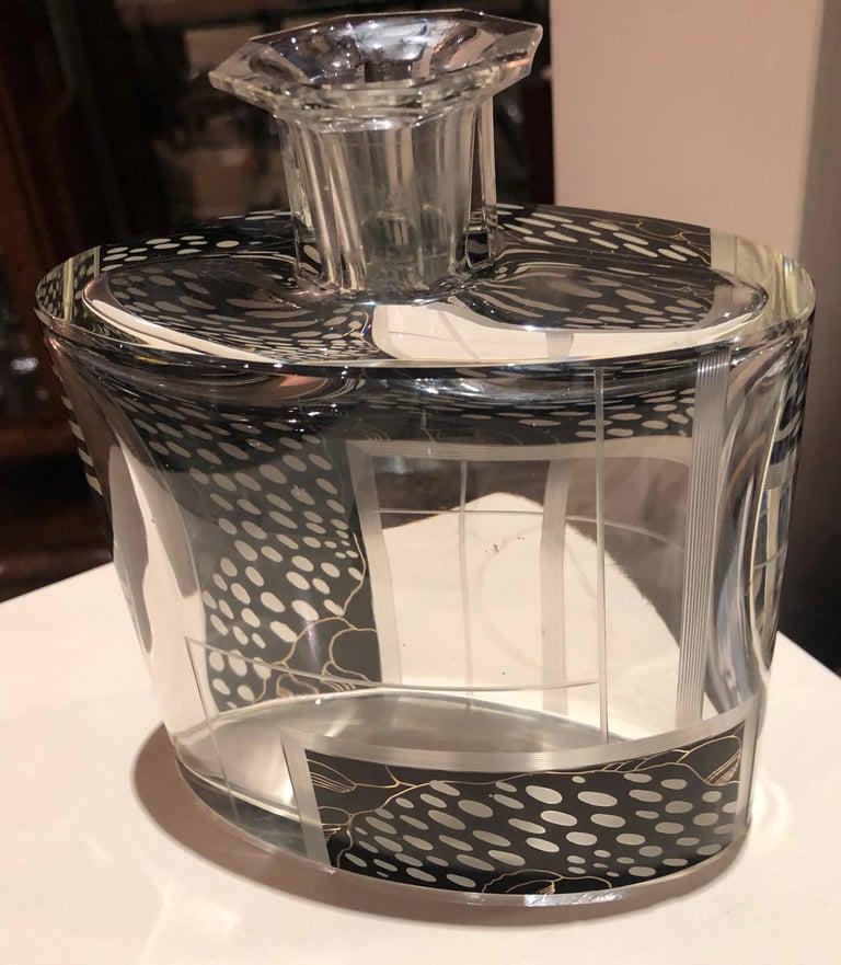 Art Deco Czech Decanter Glasses with Leopard Black Designs For Sale 7
