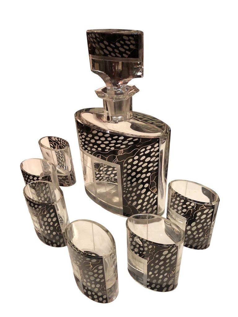 Art Deco Czech Decanter Glasses with Leopard Black Designs In Good Condition For Sale In Oakland, CA