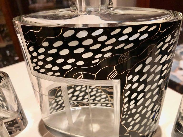 Mid-20th Century Art Deco Czech Decanter Glasses with Leopard Black Designs For Sale