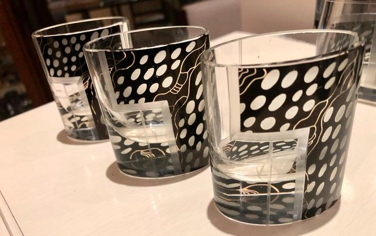 Art Deco Czech Decanter Glasses with Leopard Black Designs For Sale 3
