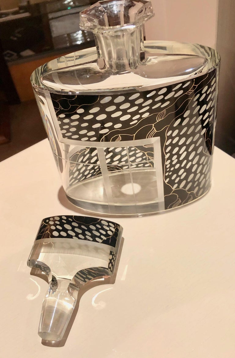 Art Deco Czech Decanter Glasses with Leopard Black Designs For Sale 4
