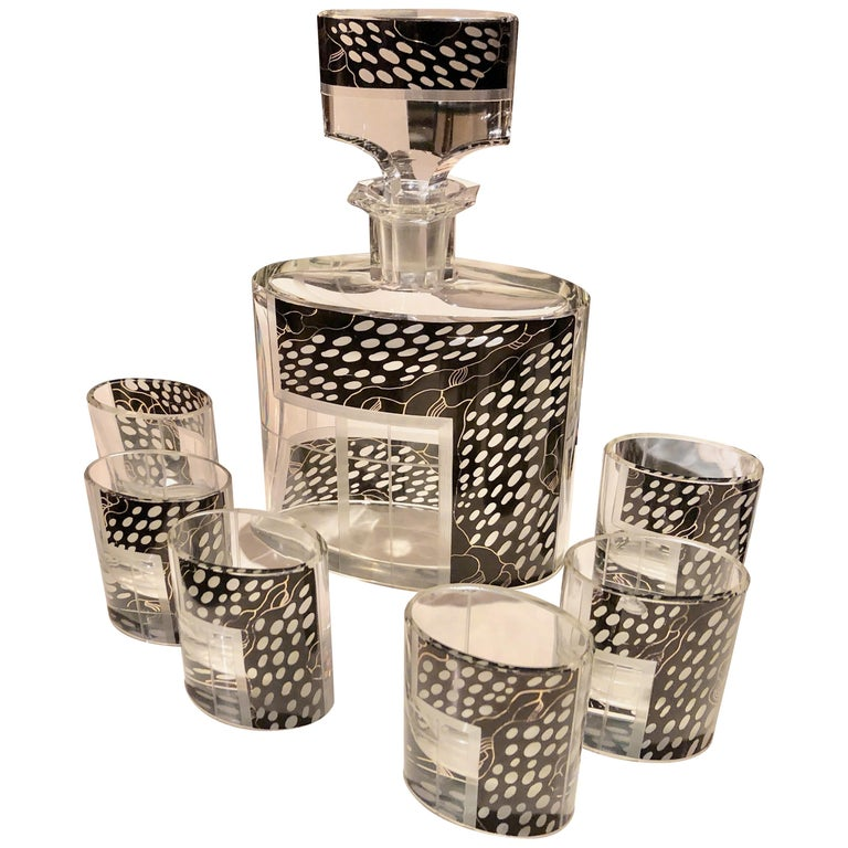 Art Deco Czech Decanter Glasses with Leopard Black Designs For Sale