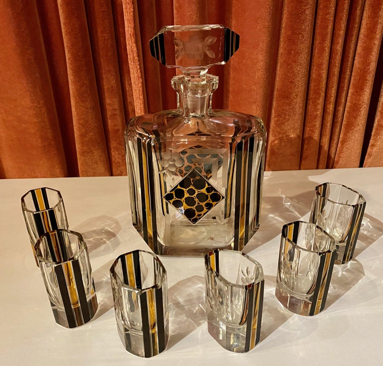 Art Deco Czech Decanter Glasses with Leopard Gold and Black Designs For Sale 6