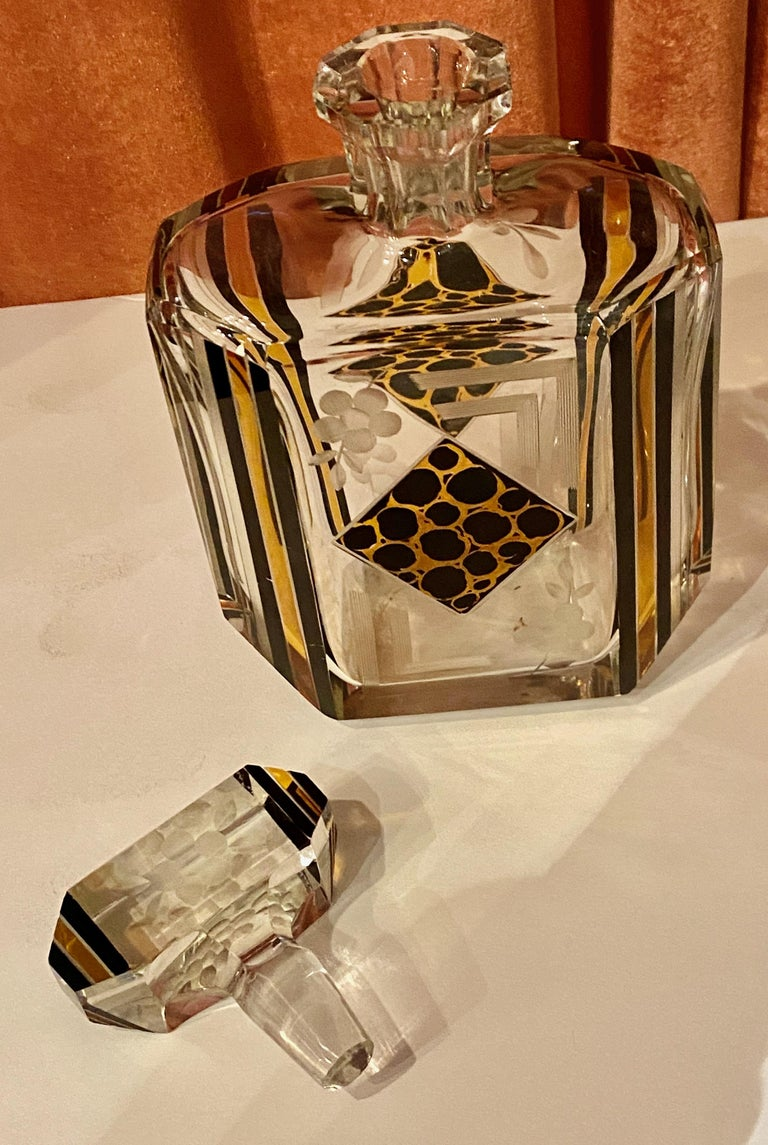 Art Deco Czech Decanter Glasses with Leopard Gold and Black Designs In Good Condition For Sale In Oakland, CA