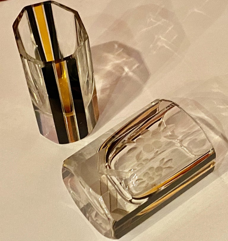 Art Deco Czech Decanter Glasses with Leopard Gold and Black Designs For Sale 2